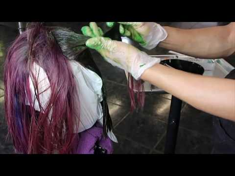 Applying green hair color on red hair | What happens when you mix green color on red hair