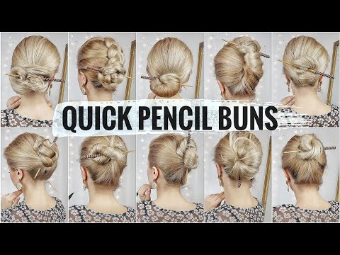 10 BUN HAIRSTYLES WITH A PENCIL 🌸 1-MINUTE HAIRSTYLES FOR SCHOOL 2020
