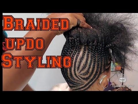 Protective updo Cornrow style on natural hair. How to so sleek braided Cornrows. elegant braids
