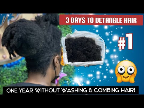 One year without washing & combing hair!