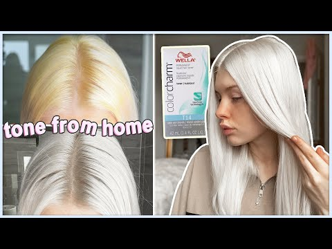 HOW TO TONE PLATINUM BLONDE HAIR AT HOME | Wella T14 | bye yellow/brassy tones
