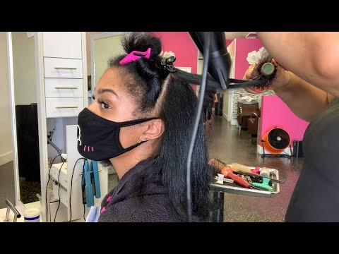 Natural Hair Dominican Blow Out Routine NO HEAT DAMAGE