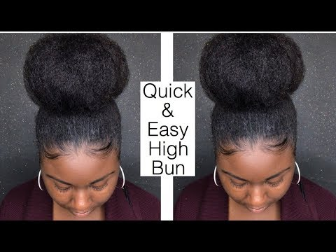Quick and Easy High Bun On Natural Hair