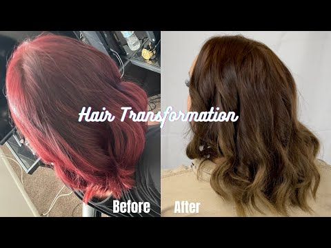 Hair Transformation - Red to Ash Brown (no bleach needed)