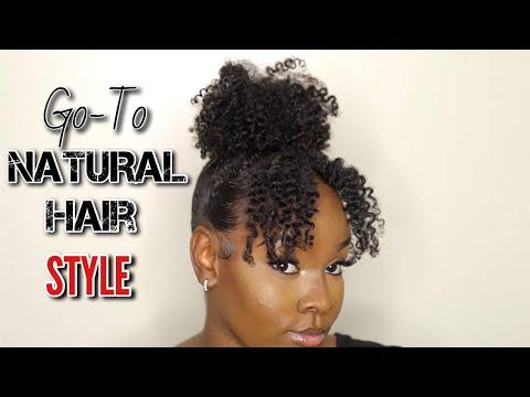 Cute and Easy GO-TO Natural Hair Style   4a, 4b Medium Length Hair