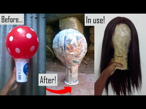 Custom size Mannequin head using Balloon and newspapers a recycled yogurt cup or water bottle paper