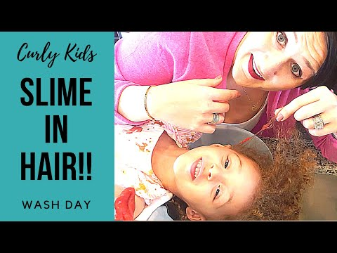 How to Remove Slime from Hair   Kids Curly Wash Day Routine   BEST METHOD!