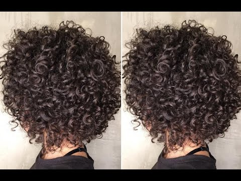 Horizontal Graduation Bob Haircut on Curly Hair   Textured Bob Haircut Step by step