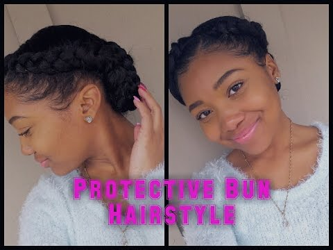 Two Braids into a Low Braided Bun    Protective Hairstyle