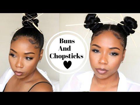 Top knot bun/ninja bun | with chopsticks | two different ways