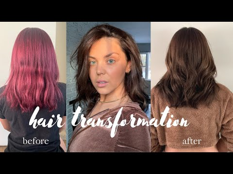 HAIR TRANSFORMATION • red to brown without bleach