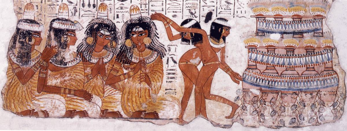 Egypt, Dynasty XVIII depicting dancers and musicians wearing elaborate wigs