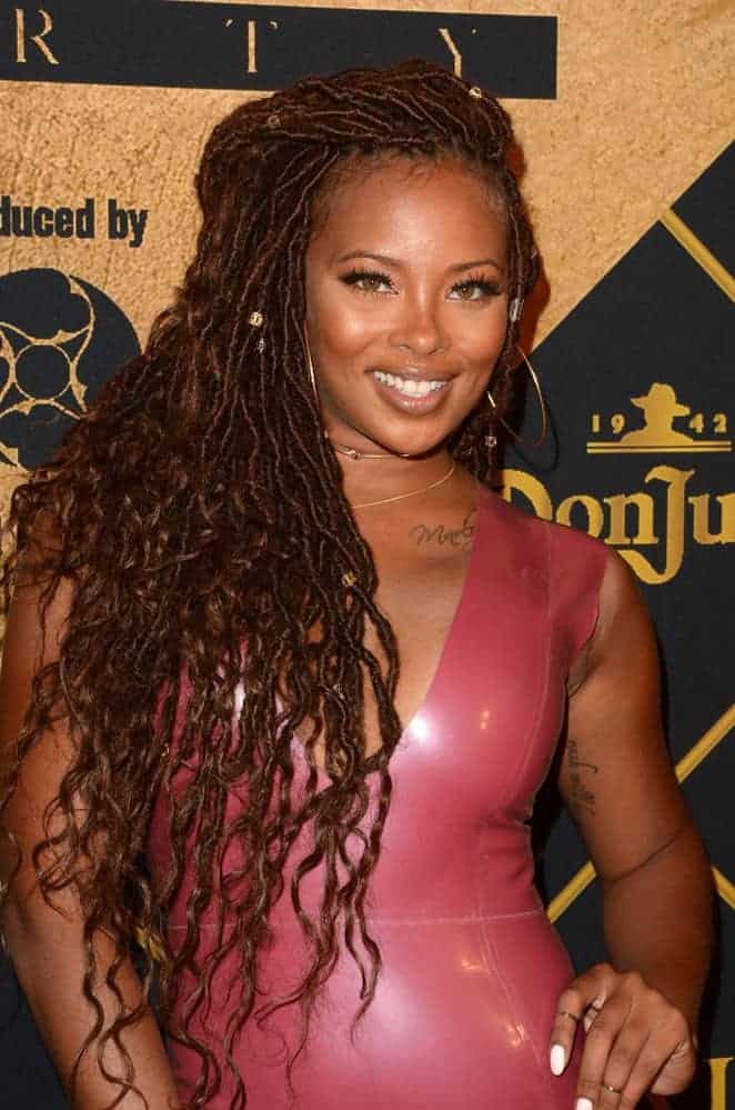 Actress Eva Marcille wearing goddess faux locs