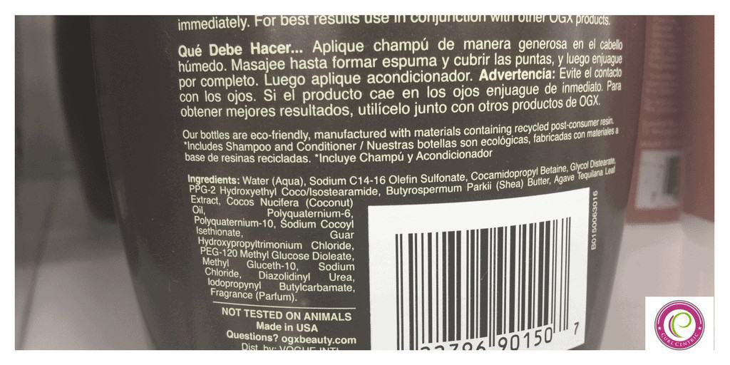 hair product label