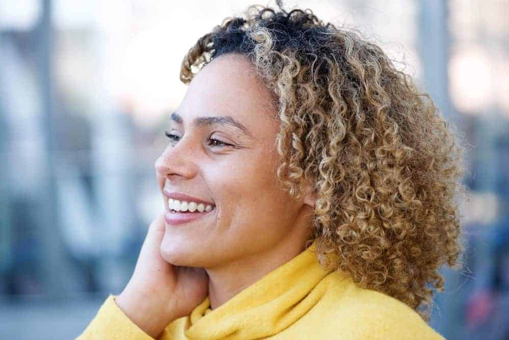 beautiful African American women with blonde brown curly hair