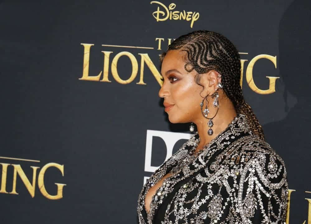 Singer Beyonce wearing medium lemonade braids at the World premiere of 'The Lion King' held at the Dolby Theatre in Hollywood, USA