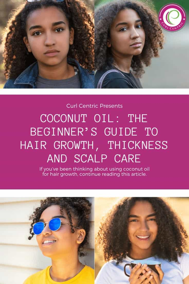 Learn how to use coconut oil and its healthy fats for hair growth, essential moisture, pre-pooing, hair loss, treating dandruff, deep conditioning treatments, and many other DIY benefits. Whether you're using the oil for your skin or your hair health, coconut oil recipes are common for women with curly hair and those with 4a, 4b, and 4c hair types. Use this step-by-step guide to start immediately with our tips, inspiration, and other advice. #coconut #hair #oil #recipes #dandruff #growth