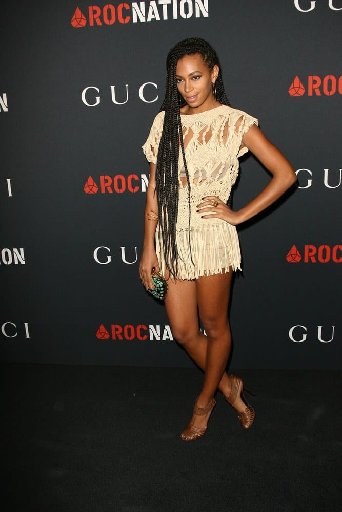 Solange Knowles at the Gucci and Roc Nation Private Pre-Grammy Brunch, Soho House, Los Angeles, CA wearing poetic justice braids.
