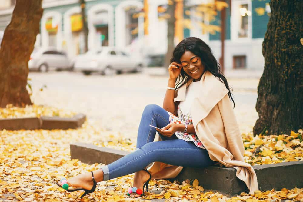 Pretty lady wearing makeup and casual clothes a fall day
