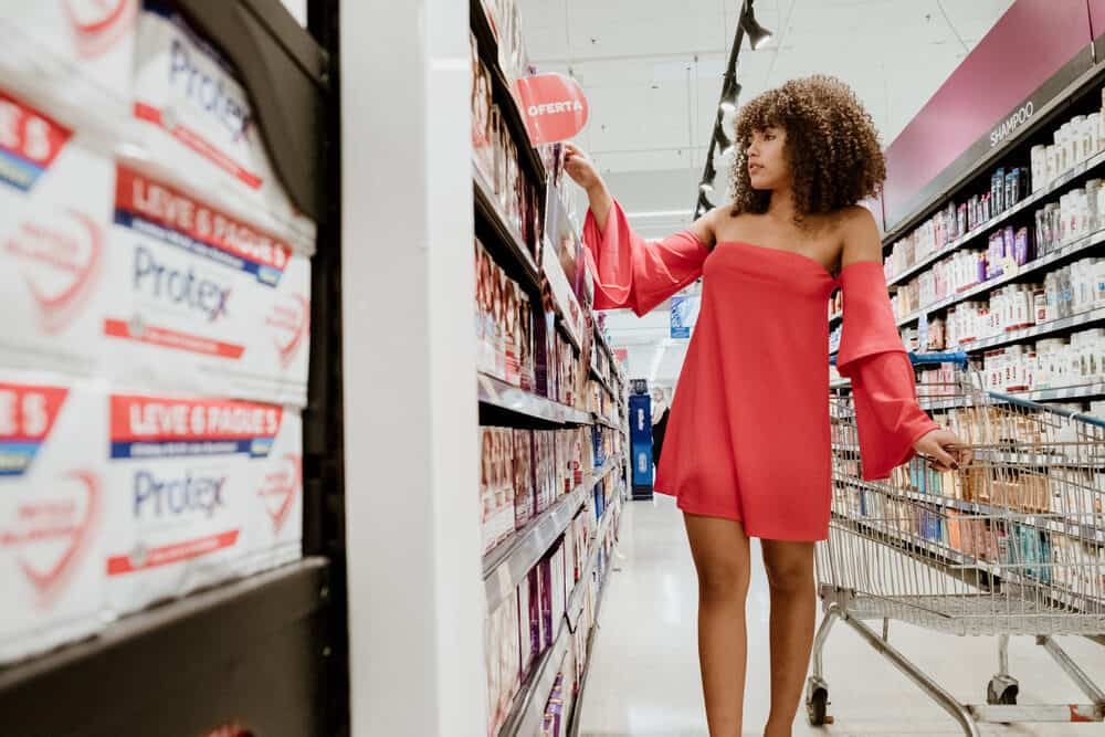 Lady in Target shopping for products to tackle split ends
